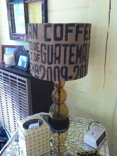 Coffee sack lampshade Coffee Sacks, Coffee Crafts, Mixed Media Artists, Easy Crafts, Repurposed, Diy Home Decor, Upcycle, Roast, Household