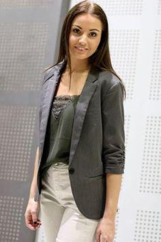 Mbym - Tabita Blazer Medium Grey Leather Jacket, Blazer, Medium, Jackets, Women, Fashion, Studded Leather Jacket, Down Jackets, Moda