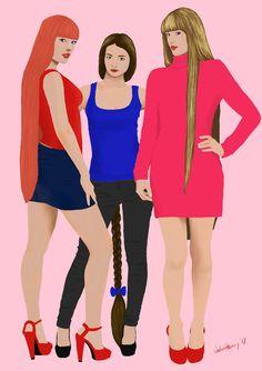 Julie, Laura and Jessie (OC) by JohnHeavy.deviantart.com on @DeviantArt
