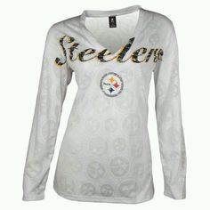 09fde90f SALE Pittsburgh Steelers Women's Burnout Longsleeve V-Neck Top - Official  Online Store