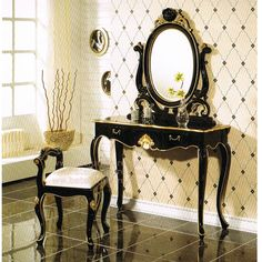 Black Gold Bedroom Vanity Set French Furniture Mahogany