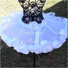 Pretty in White Tutu Skirt Flower Girl Wedding by InspiredFlair, $45.00