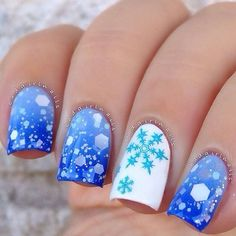Blue ombre snowflake and rhinestones