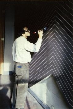 """Frank Stella  """"Although he began creating art when Abstract Expressionism's gestural brushstrokes were the dominant technique, Stella painted flat, smooth works that led the art world in another direction, towards Minimalism."""""""