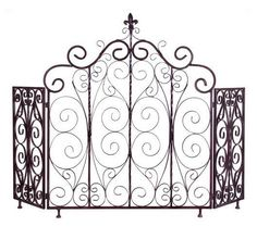 FIREPLACE IRON STYLE ANTIQUE NEW SCREEN ORLEANS SCROLL #IMAX #Gothic
