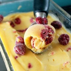 Mango Coconut Sorbet with Raspberries Ingredients 5 cups mango, frozen 1 cup coconut milk 1 cup raspberries, frozen 1 cup sugar 1 teaspoon lemon juice 1/2 teaspoon lemon zest, minced 1/2 teaspoon vanilla pinch of salt Instructions Place all ingredients into a blender, except raspberries. Blend until smooth and creamy. Pour mixture into an ice cream maker or use a loaf pan. Fold in raspberries. Churn ice cream according to package directions or cover glass dish with saran wrap and freeze…