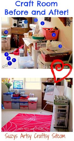 Hilarious take on a craft room reorganization! Great before and after photos!