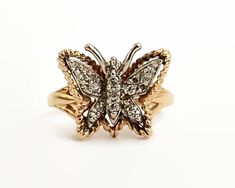 14 carat gold diamond butterfly ring, 17 diamonds, larger size, adjustable, circa 1970 by CardCurios on Etsy Gold Value, Butterfly Ring, Gold Set, Carat Gold, Vintage Rings, Diamond Cuts, Larger, Gold Rings, Diamonds