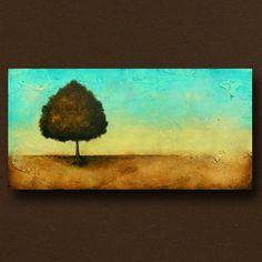 Contemporary Tree Painting Original Landscape Art Heavily Textured 24 x 48 by Britt Hallowell. $450.00, via Etsy.