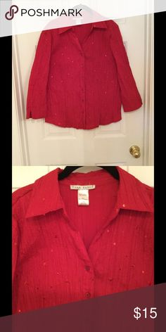 Top / Jacket Red blouse/jacket.  3/4 sleeve.  Fabric is polyester/cotton with red sparkles .  Size 18.  Worn 2 times at Christmas. Fred David  Other