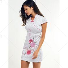 Chinoiserie Jacquard Floral Mini Dress For Women   TwinkleDeals.com