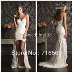 Custom romantic sexy high low lace wedding dress 2013 bridal gown New Arrivals