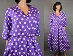 Vintage Shirtwaist Dress Sz L Purple White Polka Dot Rockabilly Swing Costume Free US Shipping by HepCatClothes on Etsy