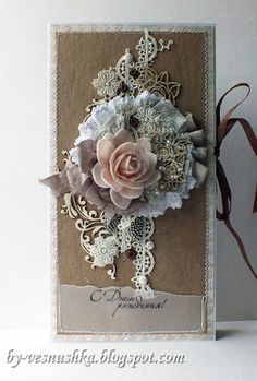 hand crated shabby chic cover for stationary portfolio ... collage of laces,flowers, and flourish die cuts ...