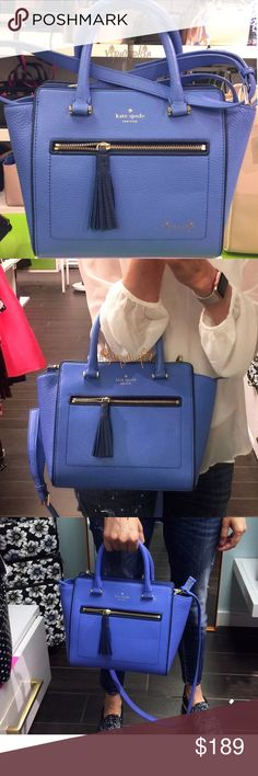 """kate spade Chester Street Small Allyn Satchel Bag kate spade  Chester Street Small Allyn Leather Handbag Crossbody Bag Adventure Blue / Ocean Blue Brand New with Tags! Style# WKRU4322  Details: pebbled leather, zip top closure, polished gold-tone hardware, top handles with 4.5"""" drop,  detachable and adjustable longer shoulder or crossbody strap with 21"""" drop Approximate measurements: 13"""" top & 9.5"""" bottom(L)/ 9"""" tallest(H)/ 5"""" widest(W)  COLOR: Adventure Blue / Ocean Blue Price firm! NO…"""