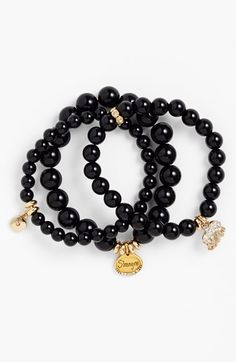 Sequin Beaded Stretch Bracelets (Set of 3) available at #Nordstrom