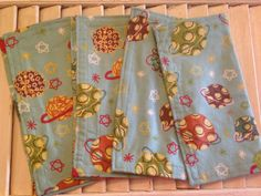 Great Set of 4 Stars and Planets Print Flannel Cloth Napkins 11""