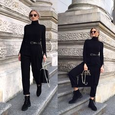 Get this look: http://lb.nu/look/8888815  More looks by Anette Kramarska: http://lb.nu/anettekram  Items in this look:  Only  Turtle Neck, Mango Chain Bag, Zara Trousers, Zara Shoes, Mango Glasses   #chic #classic #elegant #allblack #turtleneck #classy #vogue #nightout #date