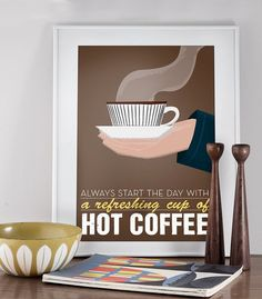 Coffee print  typography poster mid century art  Stig by handz, $19.00 (This should be in my kitchen.   Or next to my bed.)