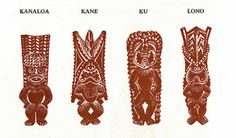 The four main gods were Kane, Ku, Lono and Kanaloa. Demi-gods included Pele and many others.  Kane was the god of sunlight, fresh water, and natural life. Ku was the god of war and the male generating power. Lono was the god of peace, fertility, winds, rain and sports. Kanaloa was god of the ocean; Pele, the goddess of fire. The complexities of the relationships between all Hawaiian gods are explained in many legends.