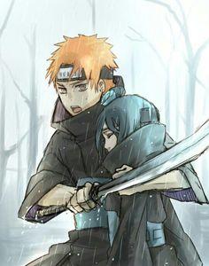 Yahiko, Konan, raining; Naruto