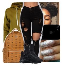 """— he said he like my style i be cuttin up . "" by ayooshaanti ❤ liked on Polyvore featuring Boohoo, MCM and Puma"