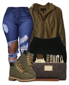 """✨"" by queen-jamii ❤ liked on Polyvore featuring beauty, Elizabeth Roberts, Boohoo, Jessica Carlyle, MICHAEL Michael Kors and Timberland"