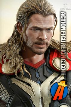Thor Sixth Scale Figure from Hot Toys. Features an incredible likeness to actor Chris Hemsworth who plays Thor in the the Avengers and Thor movies. #thor #avengers #actionfigures #hottoys