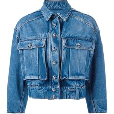 Dolce & Gabbana - cropped denim jacket - women - Cotton - 38 (3,450 BAM) ❤ liked on Polyvore featuring outerwear, jackets, jeans, blue, blue cropped jacket, cotton jacket, blue jean jacket, blue denim jacket and dolce gabbana jacket