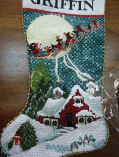 Needlepointing in your Nest Cross Stitch Christmas Stockings, Cross Stitch Stocking, Xmas Stockings, Christmas Cross, Christmas Ideas, Christmas Decorations, Needlepoint Stitches, Needlepoint Patterns, Needlepoint Canvases