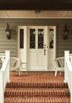 Put away anything white on your porch. Then, place some earth-toned furniture around, such as brown wicker chairs, to create a Fall atmosphere. Find more 10-minute ideas on how to transform your porch for Fall on The Home Depot's Garden Club!