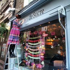 first ever sign writing job for Anges De Sucre in Kensington.