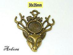 1 Anhänger Charms  Hirsch Bronze 30x35mm   von Schmuckmaterial