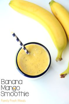 Healthy Smoothie Recipes - Banana Mango Smoothie - Easy ideas perfect for breakfast, energy. Low calorie and high protein recipes for weightloss and to lose weight. Simple homemade recipe ideas that kids love. Quick EASY morning recipes before work and school, after workout http://diyjoy.com/healthy-smoothie-recipes