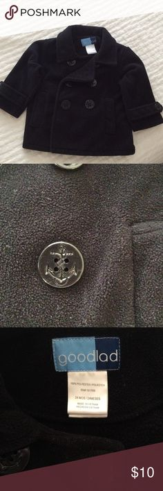 Fleece Pea-Coat For the dashing youngster! Adorable fleece pea-coat has button front and Velcro closure.  Buttons have a cute anchor design. 100% polyester, machine washable. Good Lad Jackets & Coats Pea Coats