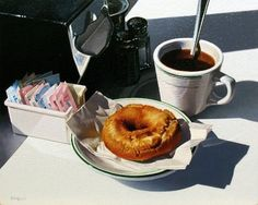 Ralph Goings (b. Coffee and Donut Ralph Goings (b. Coffee and Donut signed and dated 'Goings (lower left); Still Life Artists, Hyper Realistic Paintings, Coffee And Donuts, Still Life Drawing, Food Painting, Incredible Edibles, Dinner Dishes, Everyday Objects, Food Illustrations
