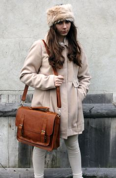 SALE LAST DAY brown leather messenger bag leather by Lemum