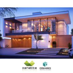 A Fantastic Work from the Zanatta Office and Oshiro Architecture. Architecture Design, Modern Architecture House, Facade Design, Residential Architecture, Exterior Design, Dream Home Design, Modern House Design, Modern Contemporary Homes, Modern Mansion