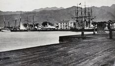 In the 1880s, Honolulu was a small town, with no buildings over three stories. Here, the view from Honolulu Harbor.