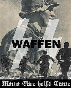 """""""Meine ehre heißt treue"""" Waffen SS slogan poster propaganda."""