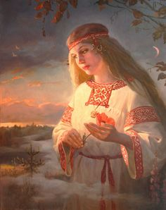 Dawn Zarnitsa by Andrey Shishkin(well-known artist, who was born in Moscow in 1960. Here he lives and works now. This Russian artist works in the style of realistic academic painting and creates paintings that delight in its splendor).