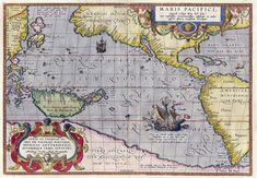 Oretelius' 1589 map that depicts the crossing of the Pacific by Magellan's ship, 'Victoria.' She became the first ship to circumnavigate the globe when she arrived back in Spain on 6 September 1522.