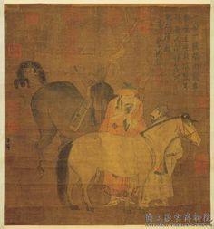 元代 - 趙孟頫 - 畫馬軸                    Zhao Mengfu (1254 -1322), was a prince and descendant of the Song Dynasty's imperial family, and a Chinese scholar, painter and calligrapher during the Yuan Dynasty.
