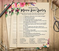 Movie Love Quote Match Game  Printable Boho by ohellobride on Etsy