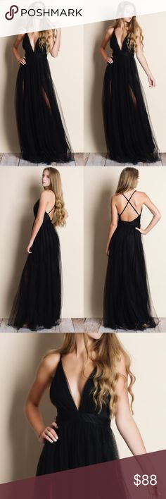 """Black Tulle Maxi Dress Tulle black maxi dress. This is an actual pic of the item. All photography done personally by me. ABSOLUTELY NO TRADES DO NOT ASK.   Runs small at the waist  • Skylar is wearing the size small • her measurements: 5'7"""" Bust 32 inches Waist 24 inches Hips 35 inches Bare Anthology Dresses Maxi"""
