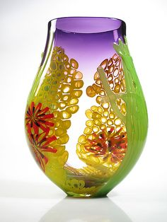 Purple Sea Scape Vase: David Leppla: Art Glass Vase - Artful Home