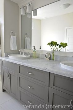 Veranda Interiors - Custom gray double bathroom vanity - like the tone of gray, not too dark, not too light