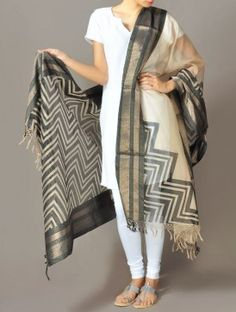 Beige Gold Cotton-Silk Dupatta - Chevron