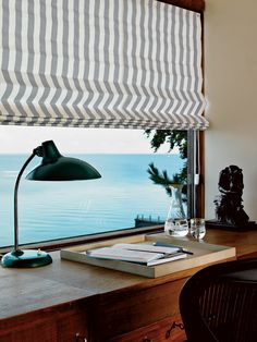 Cool Office Design Ideas: Cool Office Design Ideas With Draperies Line Pattern And Black Table Lamp And Wooden Table Interior Architecture, Interior And Exterior, Interior Design, Home Office Design, House Design, Porches, Black Table Lamps, House By The Sea, Cool Office