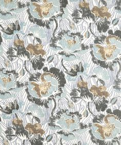 SPRING POPPY B TANA LAWN        Lino printed poppy design on an archive lino printed sub pattern.